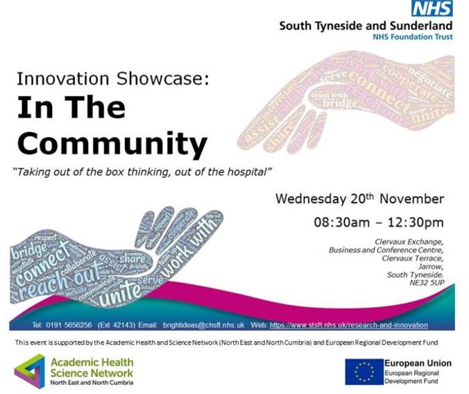Flyer for Innovation showcase: in the community event by South Tyneside and Sunderland NHS Foundation Trust
